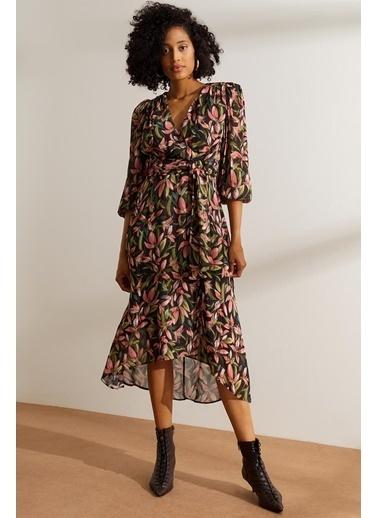 Setre  Çiçek Desenli Kruvaze Elbise Siyah